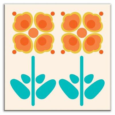"""Oscar & Izzy Folksy Love 4-1/4"""" x 4-1/4"""" Satin Decorative Tile in Pressed Flowers Orange"""