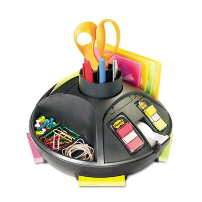 3M Rotary Self-Stick Notes Dispenser, Plastic, Rotary, Black