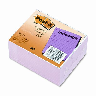 3M Post-It Super Sticky Super Sticky Message Pad, 12 50-Sheets Pads/Pack
