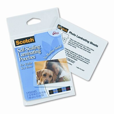 3M Self-Sealing Laminating Pouches, 9.6 mils, Wallet to 2-1/2 x 3-1/2, 5/Pk