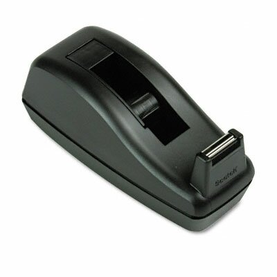 """3M Deluxe Desktop Tape Dispenser, Attached 1"""" core, Heavily Weighted, Black"""