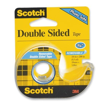 "3M Double-Sided Tape, Removable, 3/4""x200"", Transparent"