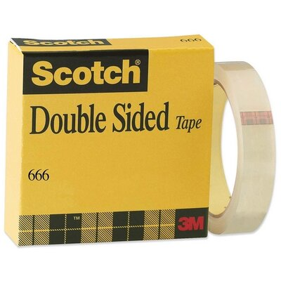 """3M Double-sided Tape, With Liner, 3""""Core, 1""""x36Yards, Clear"""
