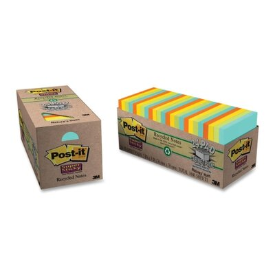 """3M Super Sticky Notes, 70 Sh/Pads, 3""""x3"""", 24 Padsper Pack, Assorted"""