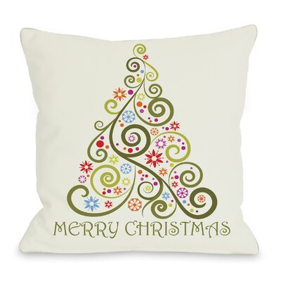 One Bella Casa Holiday Merry Christmas Whimsical Tree Throw Pillow