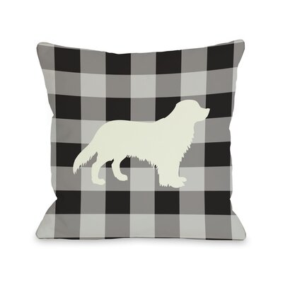 Doggy Décor Gingham Silhouette Golden Throw Pillow by One Bella Casa