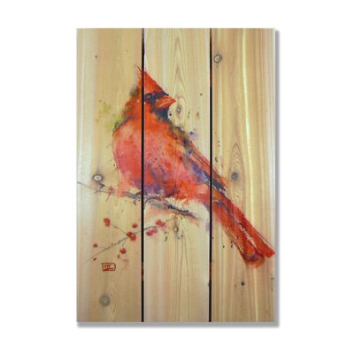 Signature 1 Cardinal Full Color Cedar Wall Art in Red by Gizaun Art