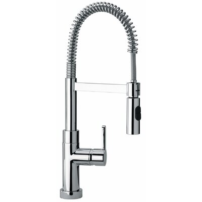 J25 Kitchen Series Single Hole Kitchen Faucet with Spring Spout and Two Function Commercial Sprayer Product Photo