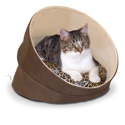 Thermo-Kitty Cave in Chocolate / Tan / Leopard by K&H Manufacturing