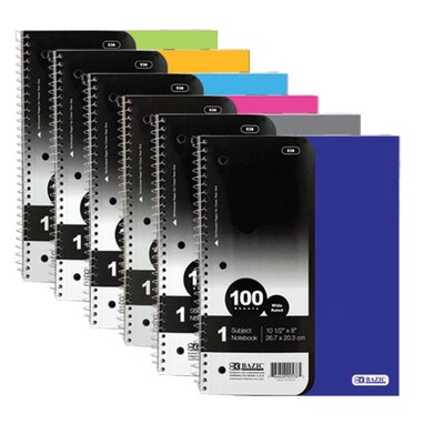 Bazic 1-Subject Poly Cover Spiral Notebook