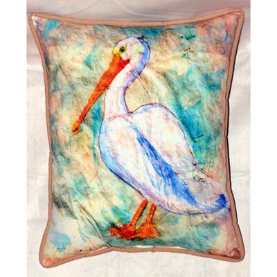 Pelican on Rice Indoor/Outdoor Throw Pillow by Betsy Drake Interiors