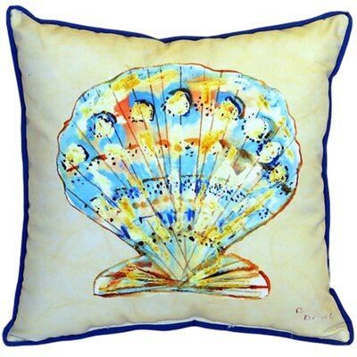 Teal Scallop Indoor Outdoor Euro Pillow by Betsy Drake Interiors