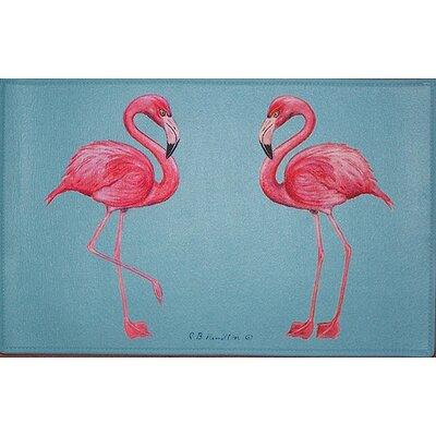 Betsy Drake Interiors Coastal Flamingo Doormat