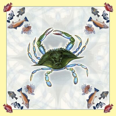 Female Crab Square Tablecloth by Betsy Drake Interiors