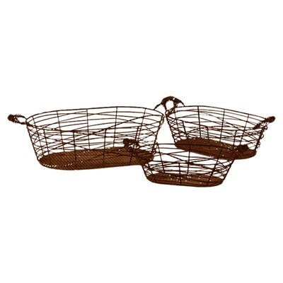 Urban Trends Metal Wire Basket with Metal Handles Set of Three Dark Gray