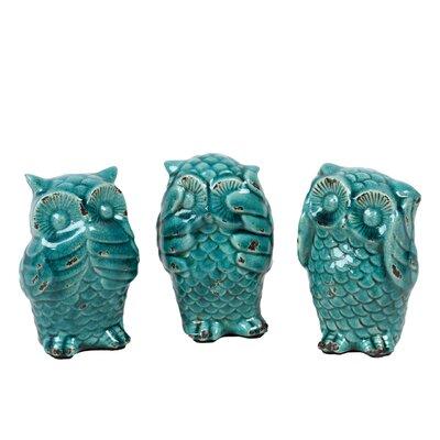 Urban trends 3 piece ceramic owl no evil figurine set reviews wayfair - Hear no evil owls ceramic ...