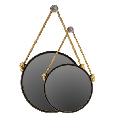 2 Piece Metal Mirror with Knotted Rope Hanger Set by Urban Trends