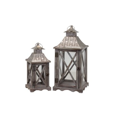 Urban Trends Wood Lantern with Pierced Metal Top Set of Two Natural Wood Finish