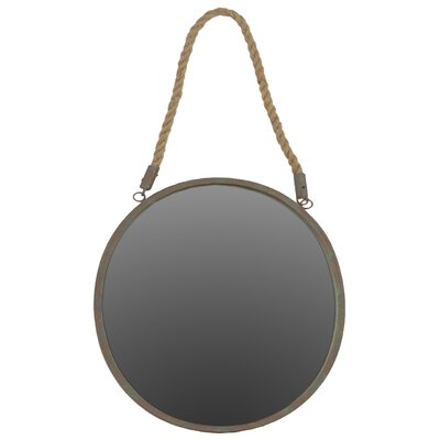 Metal Round Mirror with Rope Hanger Rusty Steel Finish by Urban Trends