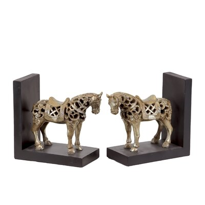 Urban Trends Resin Standing Horse with Saddle Bookend Champaign