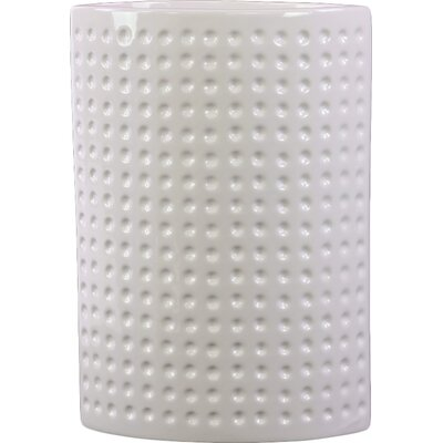Urban Trends Ceramic Oval Vase LG Dimpled Gloss White