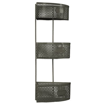 Metal Corner Shelf with 3 Tiers Perforated Sides and 3 Card Holders by Urban Trends ...