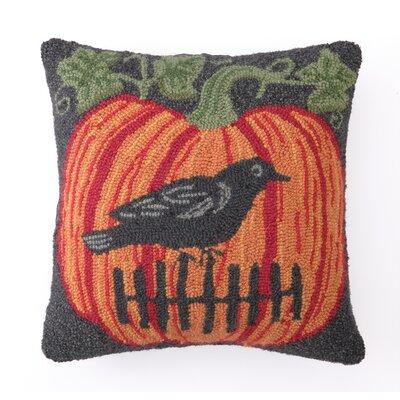 Peking Handicraft Crow on Pumpkin Hook Throw Pillow