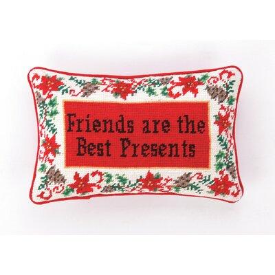 Needlepoint Friends Are The Best Presents Wool Throw Pillow by Peking Handicraft