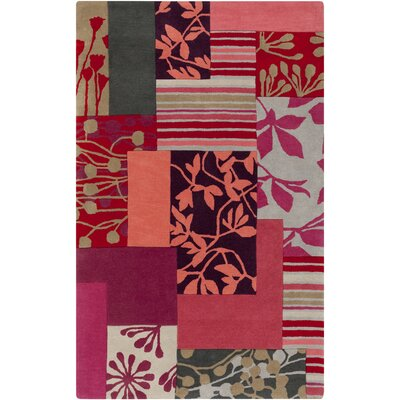Red Floral Area Rug by Harlequin