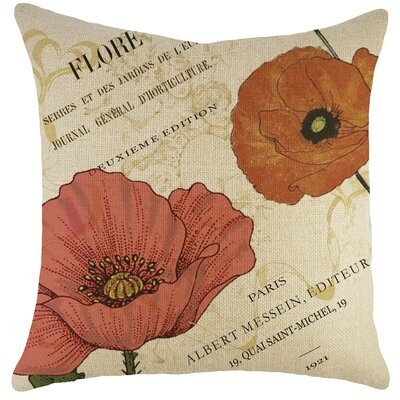 Paris Flowers Burlap Throw Pillow by TheWatsonShop