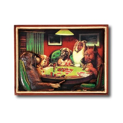 RAM Game Room Game Room Poker Dogs with Cigars Framed Vintage Advertisement