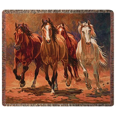 Manual Woodworkers & Weavers Hoofbeats and Heartbeats Tapestry Cotton Throw