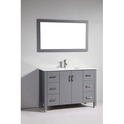 "48"" Solid Wood Single Sink Vanity Set with Mirror Product Photo"