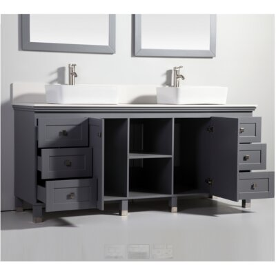 "72"" Solid Wood Sink Vanity With Mirror Product Photo"