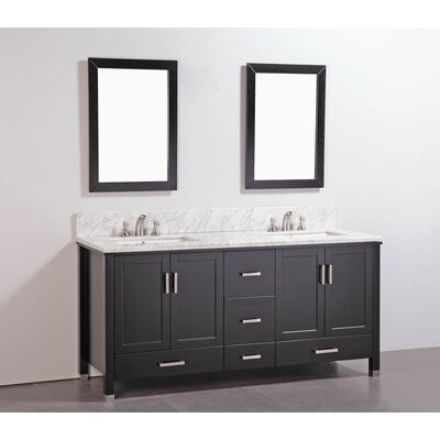 "72"" Double Bathroom Vanity Set with Mirror Product Photo"