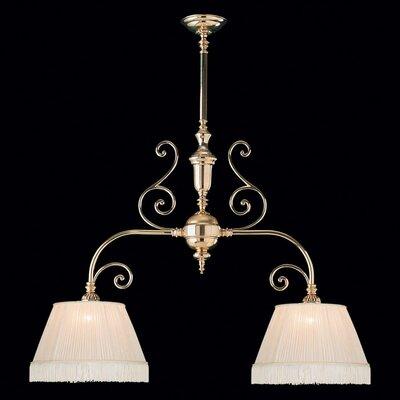 Birmingham 2 Light Kitchen Island Pendant / Billiard Light with Fabric Shade in Polished Brass Product Photo