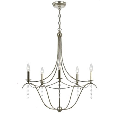 Metro Five Light Chandelier in Antique Silver Product Photo