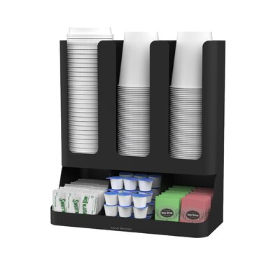 Flume 6 Compartment Upright Coffee Condiment and Cups Organizer by Mind Reader