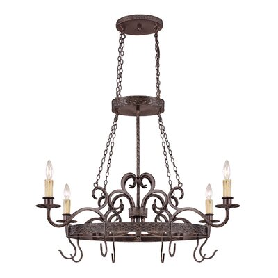 Brookshire Manor Pot Rack with 4 Light Pendant by Jeremiah