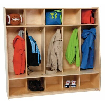 Wood Designs Healthy Kids 1 Tier 5-Section Tip-Me-Not Locker