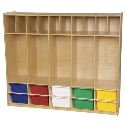 Wood Designs 1 Tier 5-Section Communication Center Locker 10 Trays