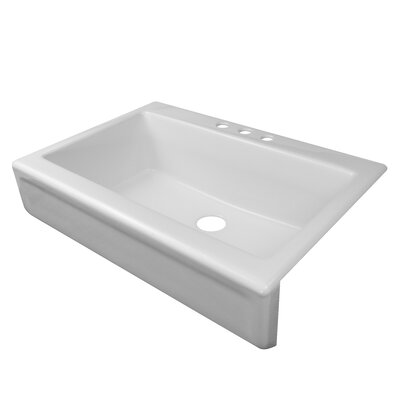Top Mount Apron Sink White : ... Bowl Apron Front Top Mount Three Hole Kitchen Sink & Reviews Wayfair
