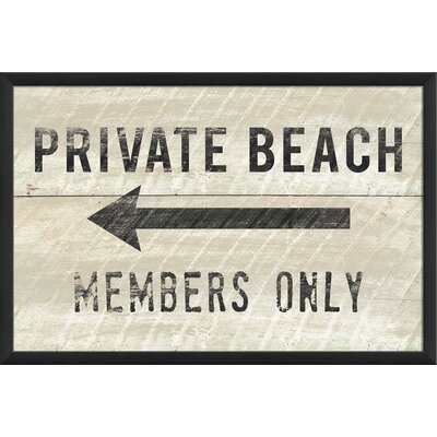 Private Beach Members Only Small Framed Textual Art by The Artwork Factory