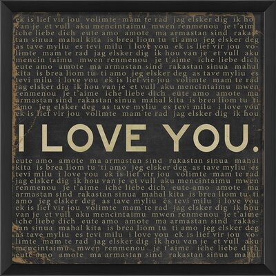The Artwork Factory I Love You Framed Textual Art