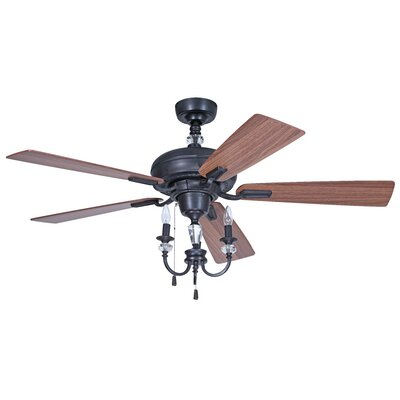 """54"""" Boulevard 5 Blade Aged Bronze Ceiling Fan with Wall Remote Product Photo"""