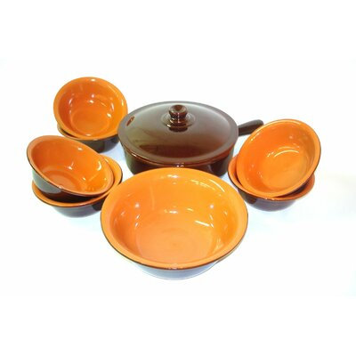 Italian Terracotta Multi-Use Pan with Lid and 6-Piece Bowl Set by Piral