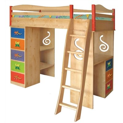 Room Magic Little Lizards Twin Loft Bed with Desk and Storage