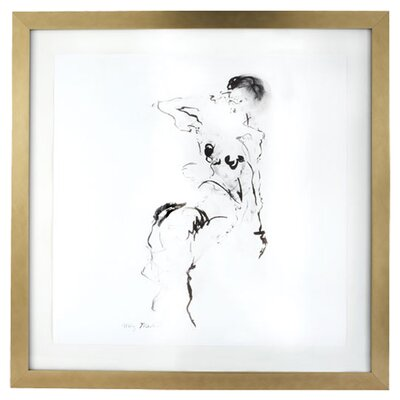 Lazy Susan USA Charcoal and Ink Nude with Leaf Frame