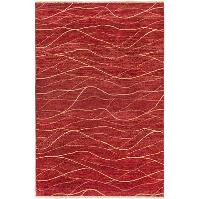 Peshawar Oushak Hand-Knotted Dark Orange-Red Area Rug by Ecarpet Gallery