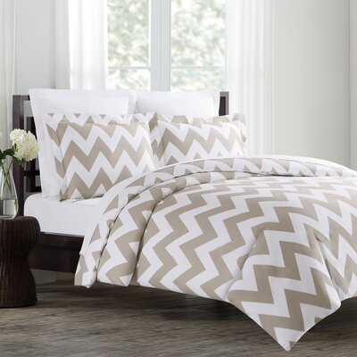 Chevron Duvet Cover Set in Taupe by Echelon Home